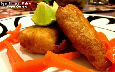 Fish fried in beer batter