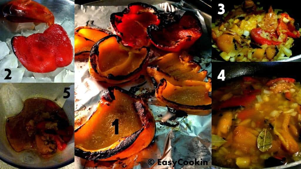 Roasted Red Pepper Soup Process