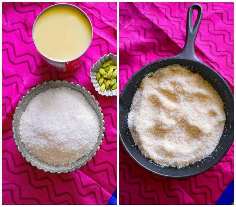 Instant Coconut Ladoo ingredients on table