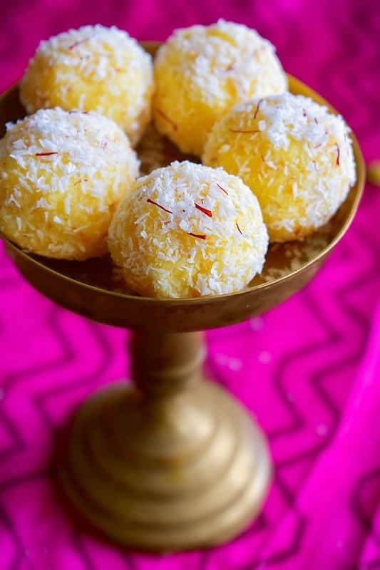 saffron coconut ladoo recipe