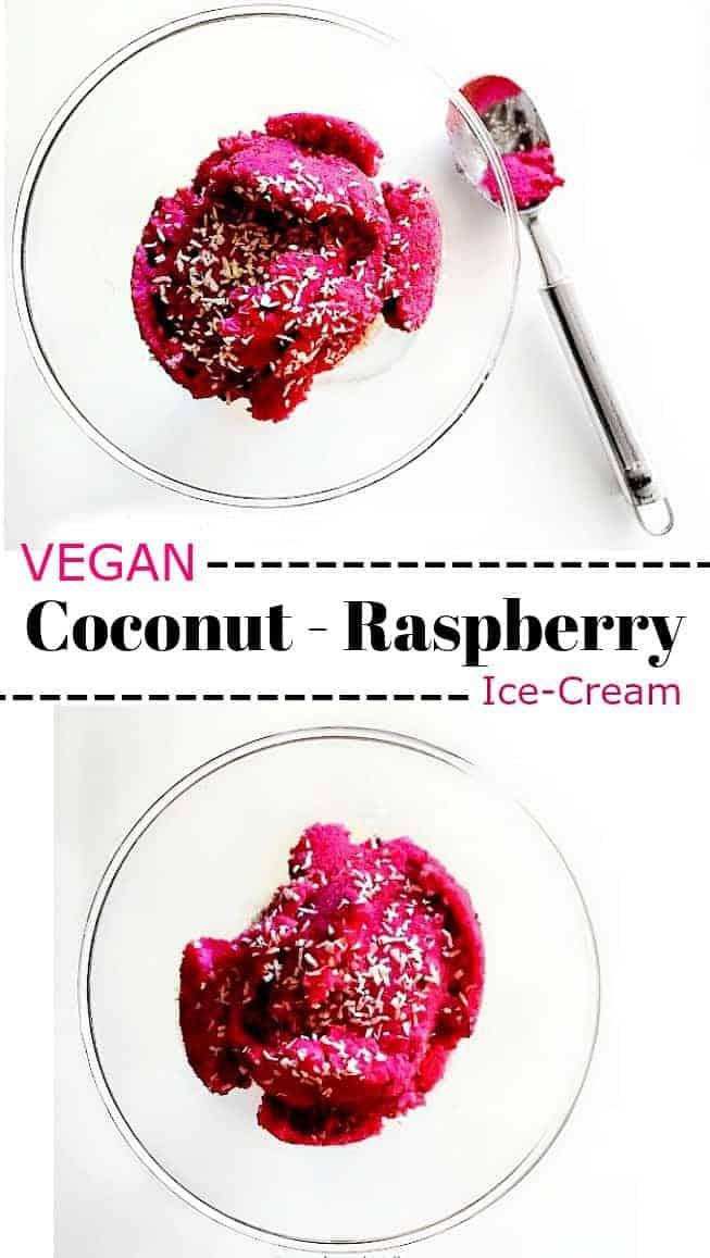 Vegan Coconut Raspberry Ice-Cream: #vegan #coconut #raspberry