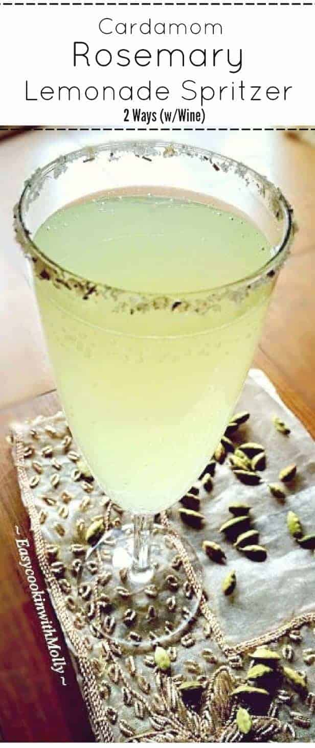 Cardamom-Resemary-Lemonade-Spritzer : #cocktail #cardamom #spritzer #lemonade #mothersday