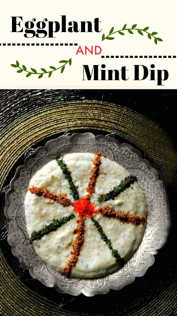 Smokey Eggplant - Mint Dip: #eggplant #mint #dips #greek #indian