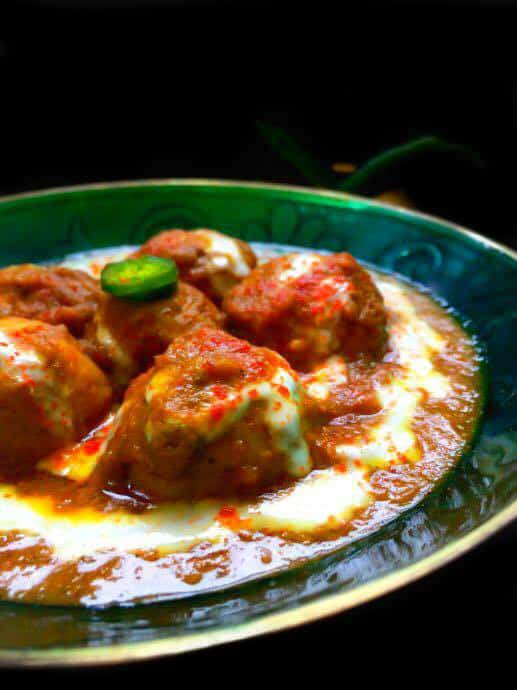 Chicken Kofta curry recipe using ground chicken meatballs.
