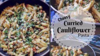Cheesy Curried Cauliflower Pasta - #curriedcauliflower