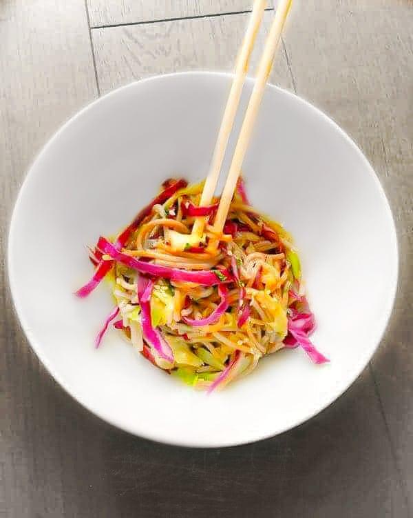 Warm Soba Noodles Salad