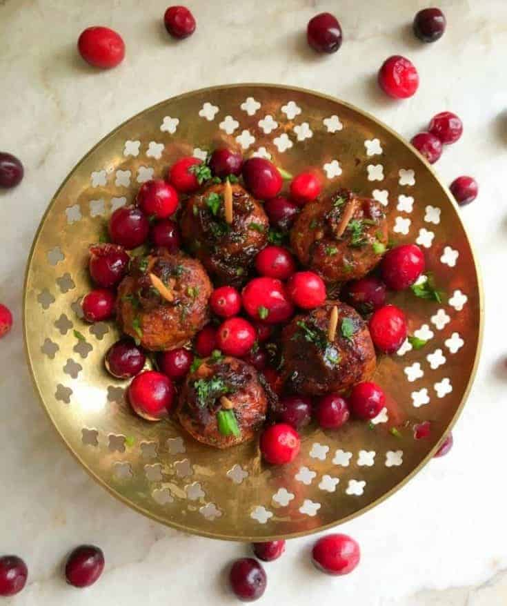 Sweet Spicy Chicken Meatballs with Cranberries