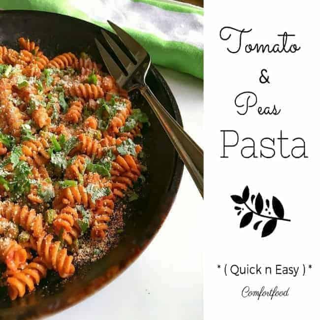 Quick Tomato Peas Pasta