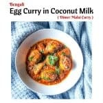 Bengali Egg Curry in Coconut Milk (Dimer Malai Curry)