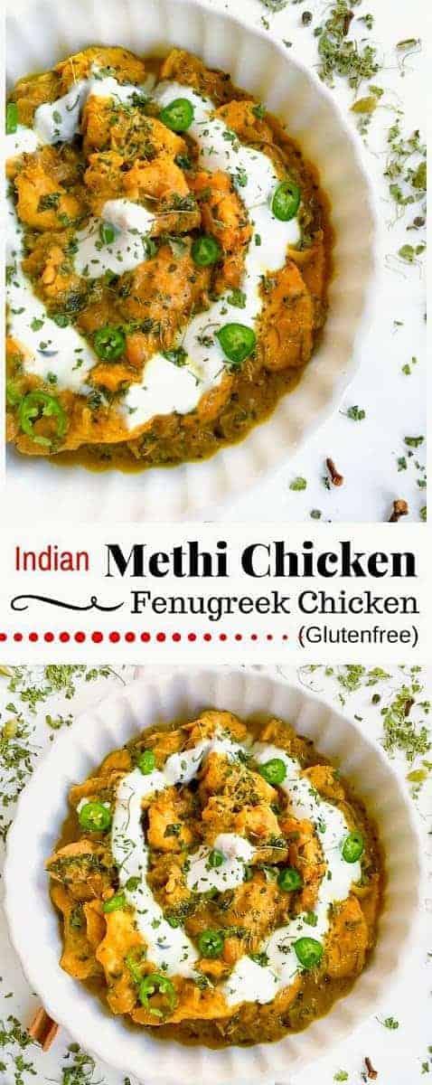 Indian Methi Chicken - Murg Methi (Fenugreek Chicken): #methi #chicken #indian #fenugreek