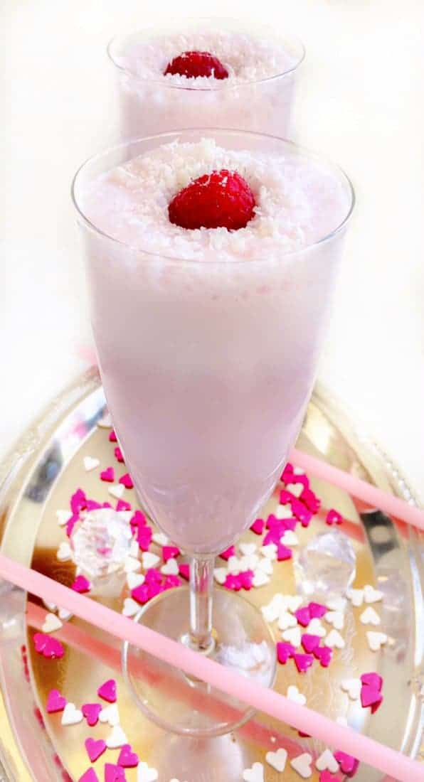Coconut Raspberry Valentines Milkshake