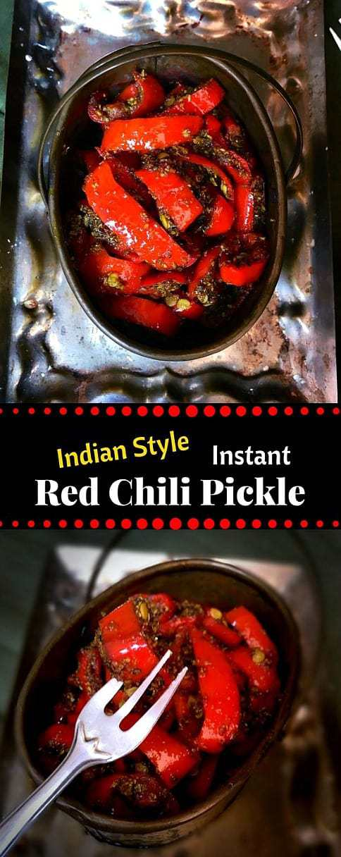 Instant Indian Red Chili Pickle - Lal Mirch ka Achaar
