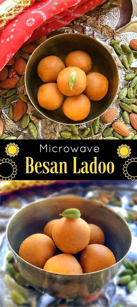 Microwave Besan Ladoo Recipe with 4 Ingredients.