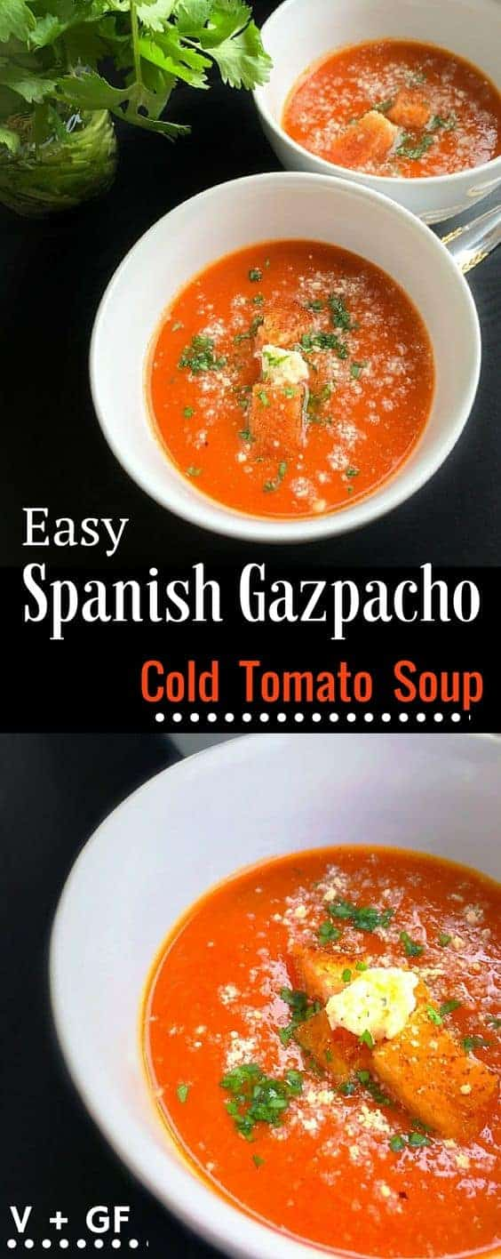 Easy Spanish Gazpacho - Cold Tomato Soup: #gazpacho #tomato #spanish