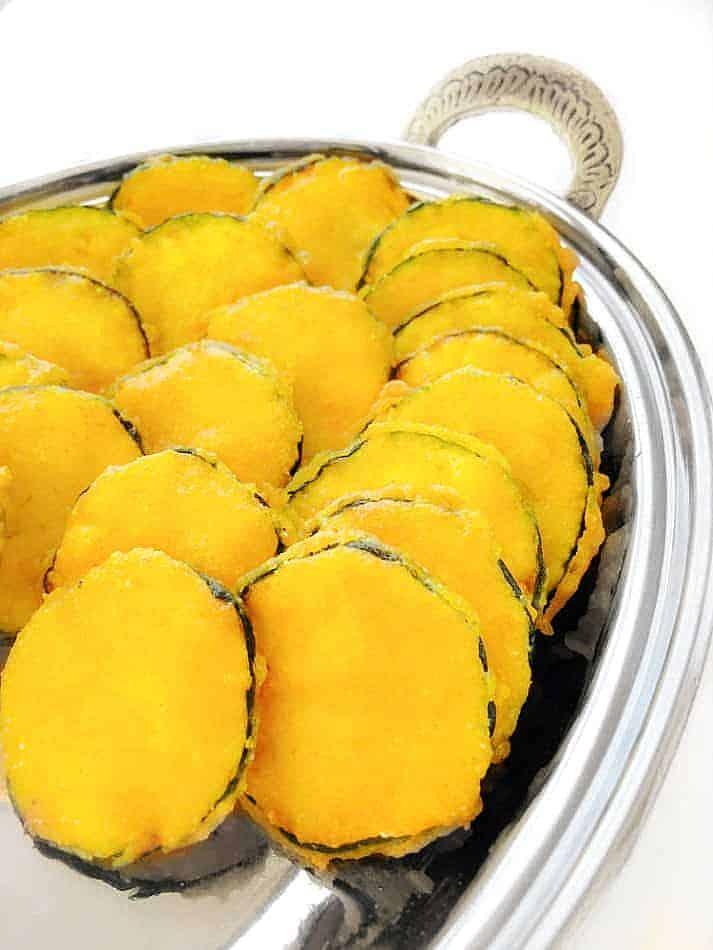 Indian Zucchini Fritters - Zucchini Pakora in a metal plate