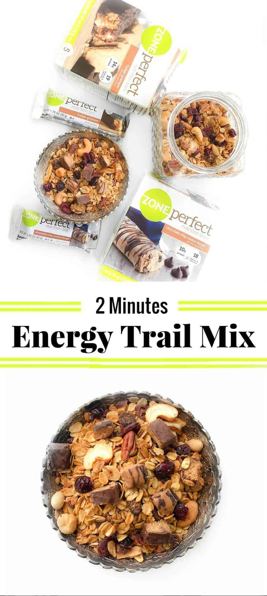 2 Minutes Energy Trail Mix Recipe : #ad #snackandrally #ZonePerfect #cbias #trailmix #recipe