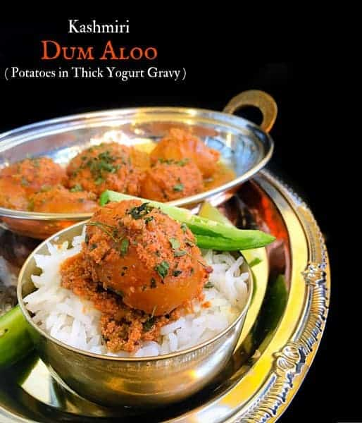 Kashmiri Dum Aloo Recipe (Potatoes in Thick Yogurt Gravy)