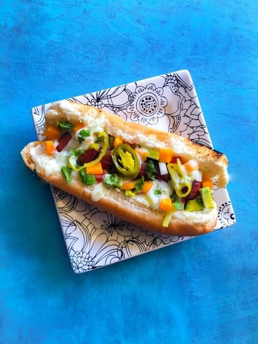 Hawaiian-Hot-Dog-with-Special-Sweet-Spicy-Yogurt-Sauce