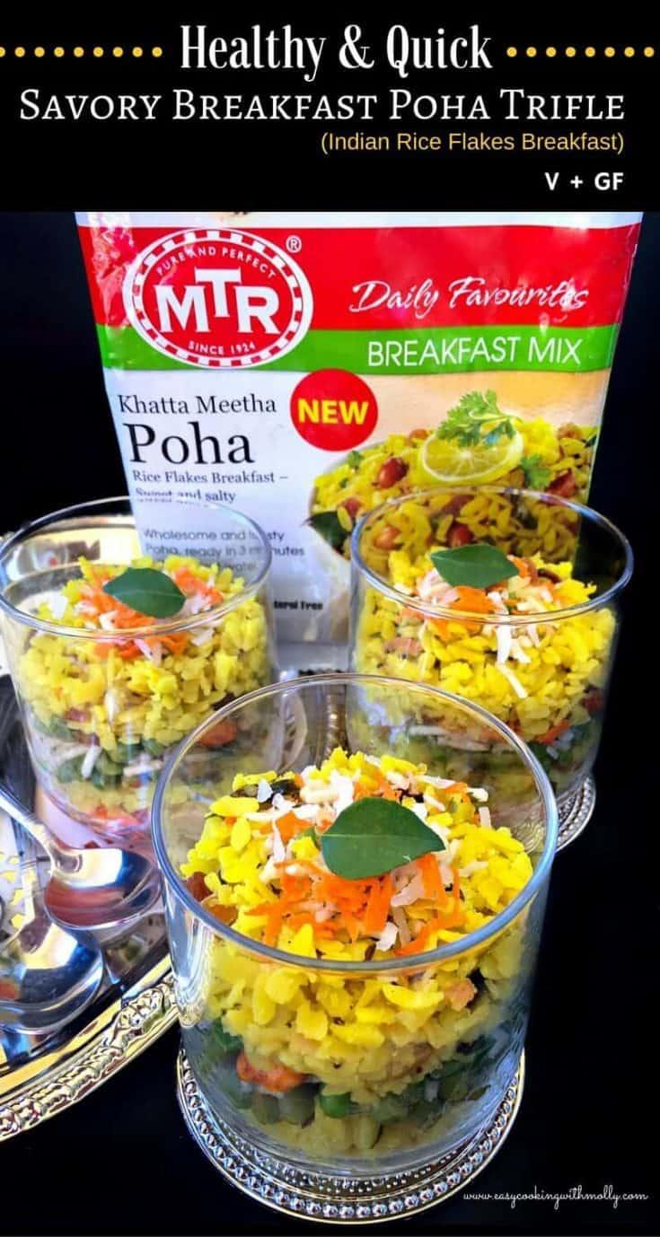 Savory Breakfast Poha Trifle : #poha #breakfastrecipes #indianbreakfast  #ad #mtrfoods