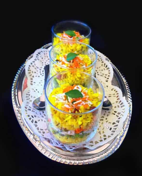 Savory Breakfast Poha Trifle recipe