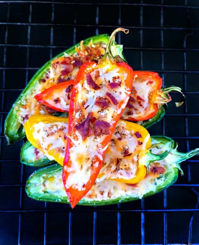 Stuffed Sweet Peppers using cream cheese, bacon and cheese