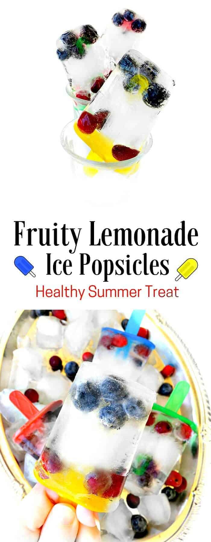 Fruity Lemonade Ice Popsicles - Healthy Summer Treat : #lemonade #ice #popsicle #healthy #fruit #pop