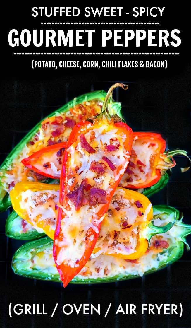 Sweet Spicy Mini Peppers - Stuffed Mini Peppers #minipeppers #gameday
