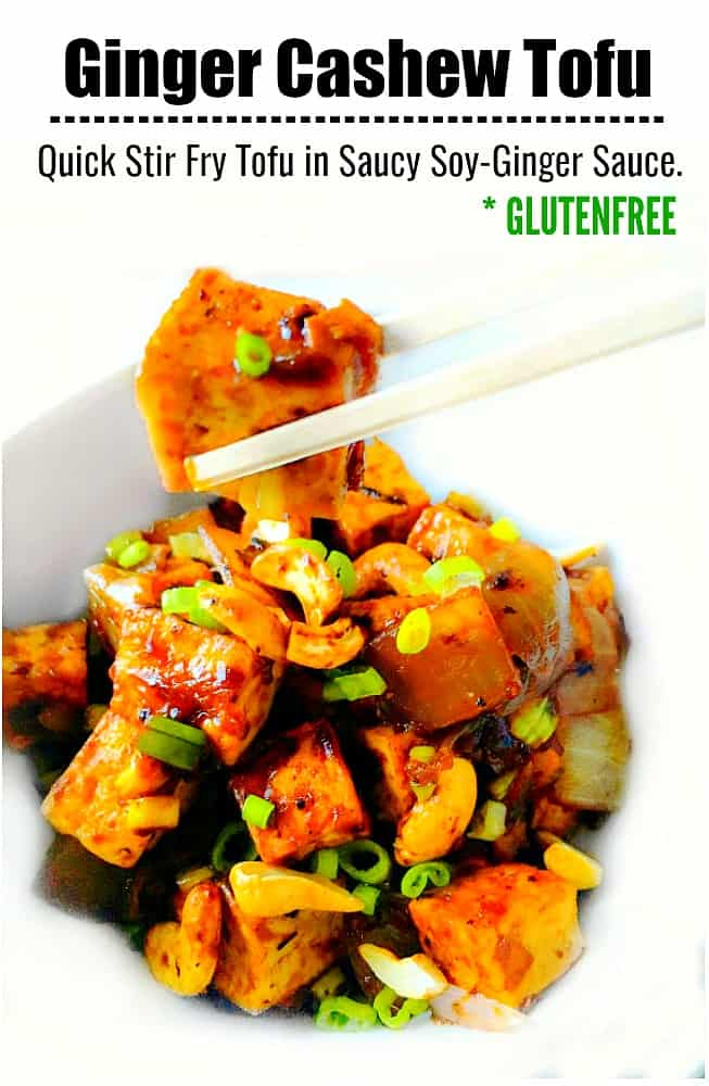 Ginger Cashew Tofu in saucy mix