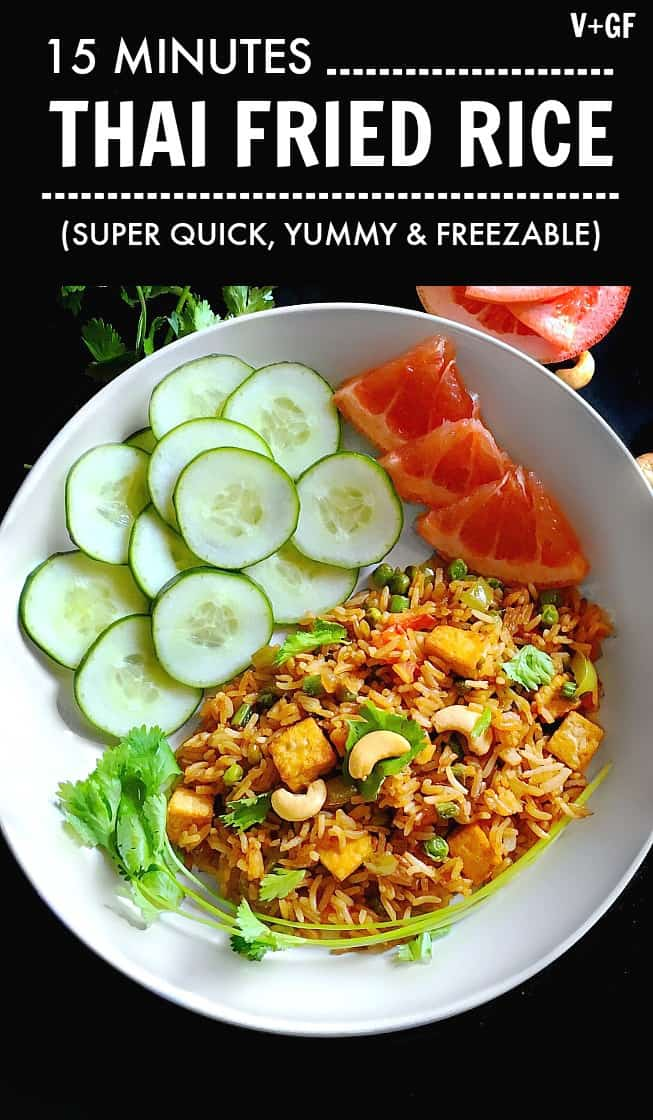 Thai Fried Rice - Easy 15 Minutes (V+GF) Freezable #thaifood #thaifriedrice
