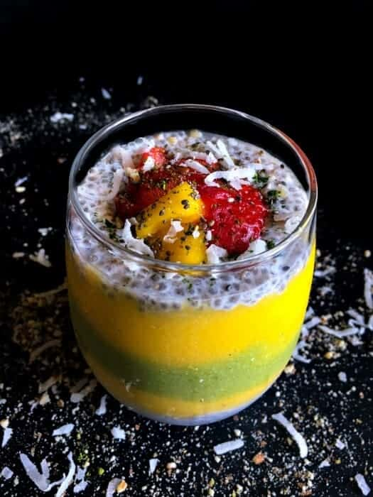 Mango Matcha Chia Layered Smoothie - using yogurt