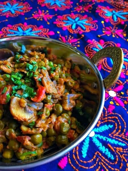 Mushroom Matar Masala recipe in a bowl