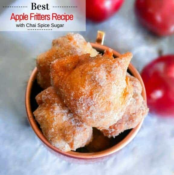 Best Apple Fritters Recipe with Chai Spice Sugar