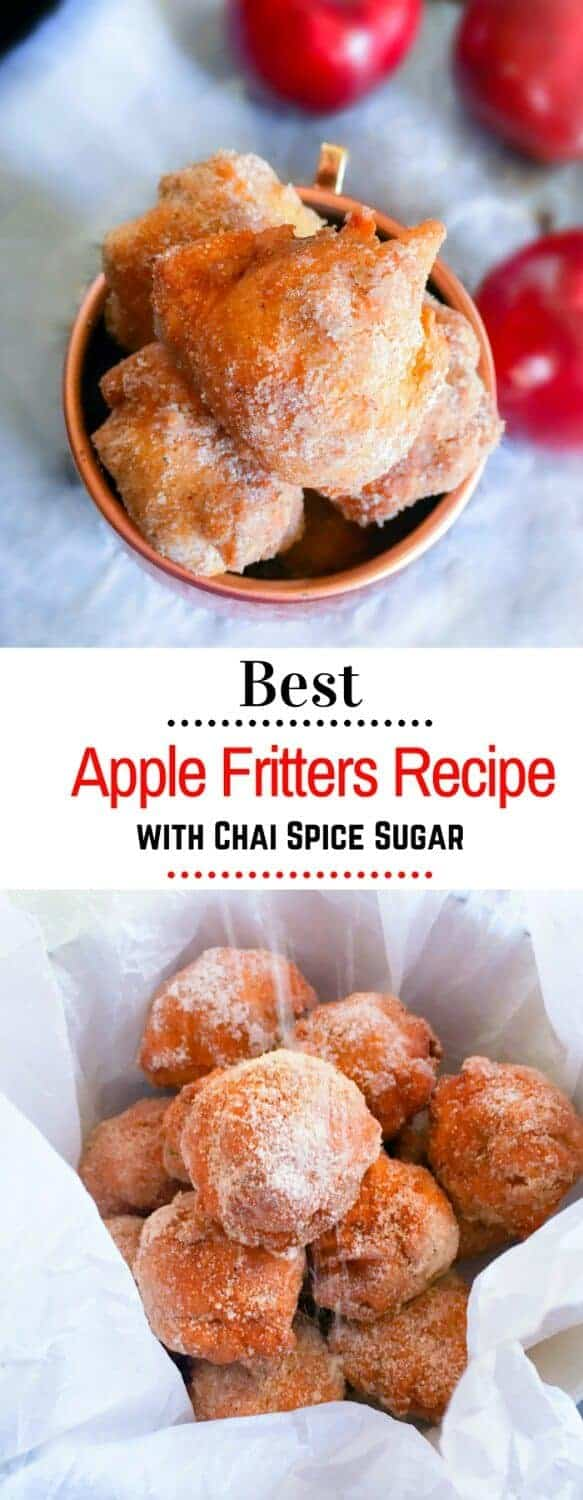 Best Apple Fritters Recipe with Chai Spice Sugar : #apple #fritters #recipe #cinnamon #chai #spice