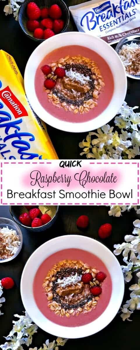 Quick Raspberry Chocolate Breakfast Smoothie Bowl : #ad #raspberry #chocolate #CarnationBreakfastEssentials #CollectiveBias