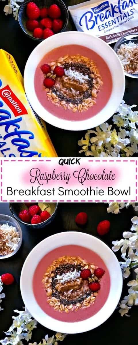 Quick Raspberry Chocolate Breakfast Smoothie Bowl : #ad #raspberry #chocolate #CarnationBreakfastEssentials #CollectiveBias