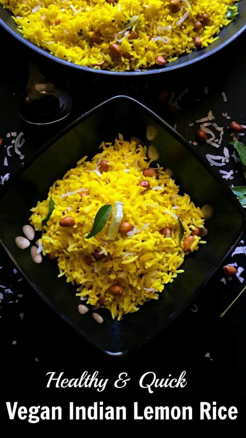Vegan Indian Lemon Rice : #rice #vegan #glutenfree #indian #recipe