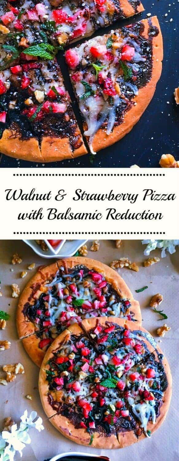 Walnut & Strawberry Pizza with Balsamic Reduction: #ad #walnuts #CG @Cawalnuts