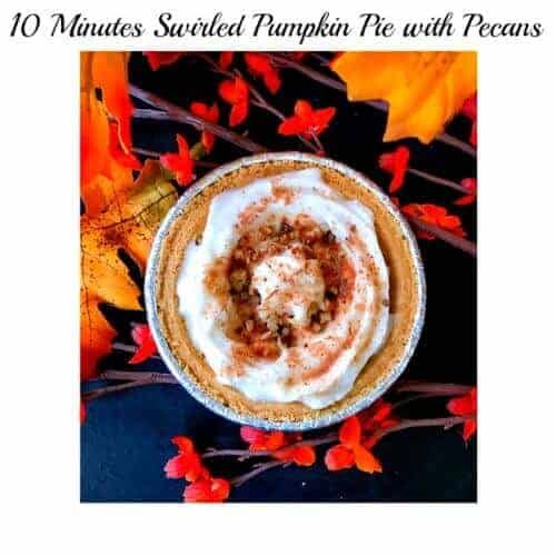 10 Minutes Swirled Pumpkin Pie with Pecans (No Bake)