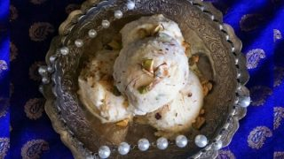No Churn: Figs-Saffron Ice Cream (Festive Dessert)