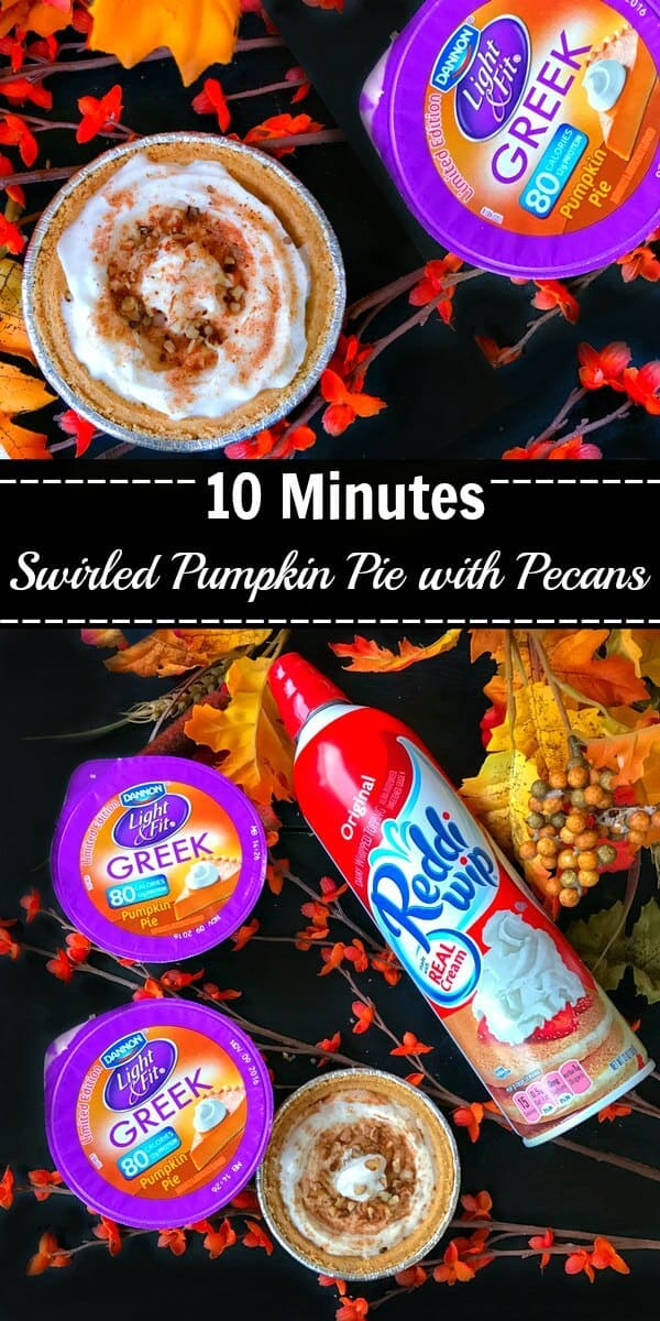 10 Minutes Swirled Pumpkin Pie with Pecans (No Bake) : #ad #EffortlessPies #pumpkin #pie #nobake @realreddiwip @dannonoikos