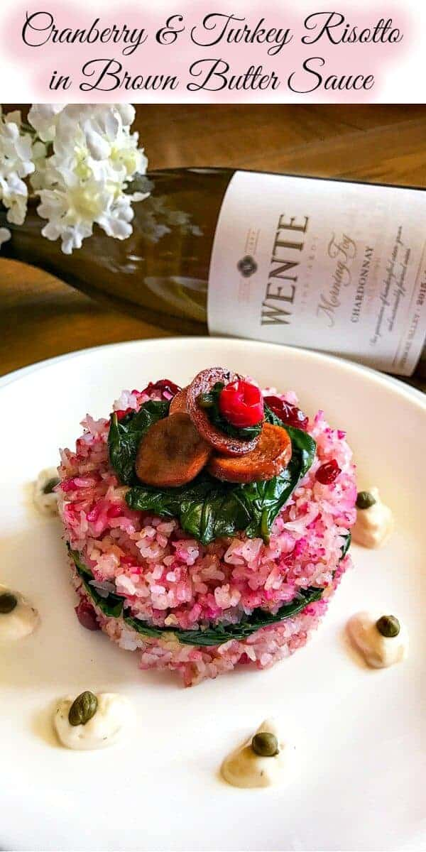 Cranberry and Turkey Risotto in Brown Butter Sauce: #thanksgiving #cranberry #turkey #risotto