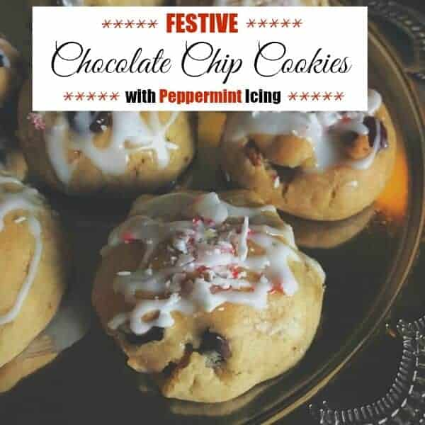 Festive Chocolate Chip Cookies with Peppermint Icing