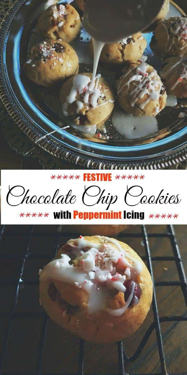 Festive Chocolate Chip Cookies with Peppermint Icing : #ad #chocolate #cookies #peppermint
