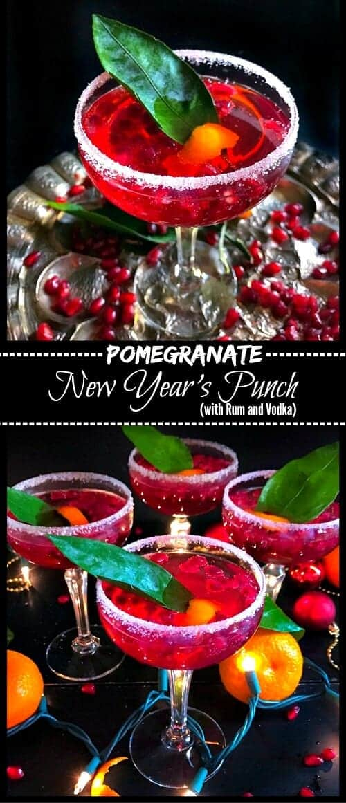 Pomegranate New Year's Punch (with Rum and Vodka) : #pomegranate #cocktail #punch #newyear #drinks