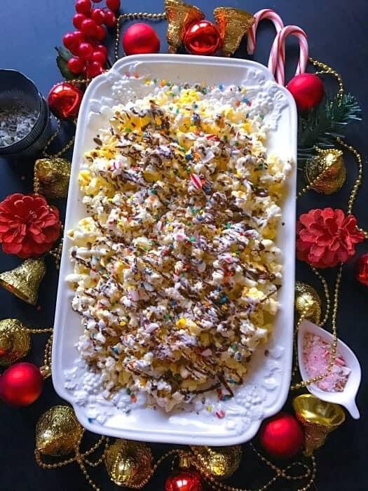 Chocolate Candy Cane Popcorn recipe