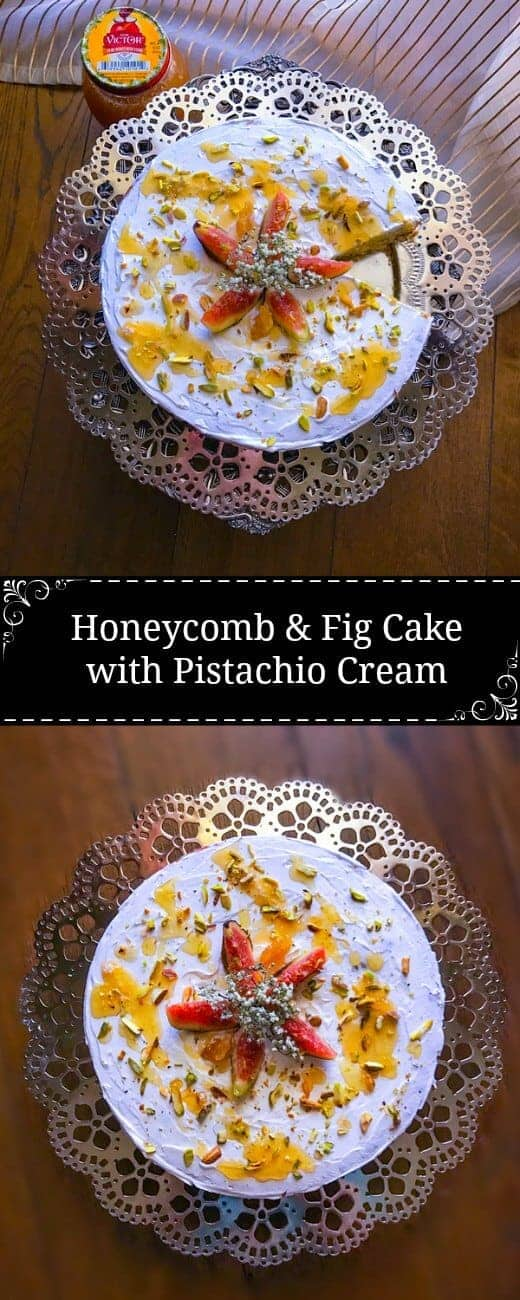 Honeycomb and Fig Cake with Pistachio Cream : #ad @DonVictorHoney #figs #honeycomb #cake