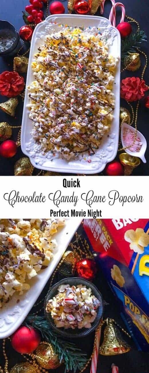 Quick Chocolate Candy Cane Popcorn - Perfect Movie Night : #Pop4AssassinsCreed #Pmedia #ad @popsecret @walmart