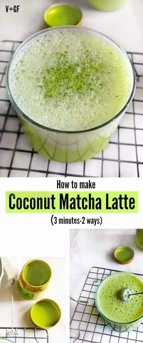 How to make Coconut Matcha Latte (3 minutes-2 ways): #matcha #latte #vegan #coconut