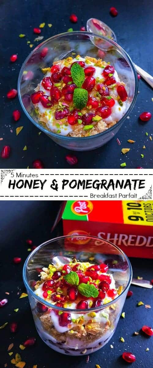 5 Minutes Honey & Pomegranate Breakfast Parfait: #pomegranate #healthy #breakfast #parfait