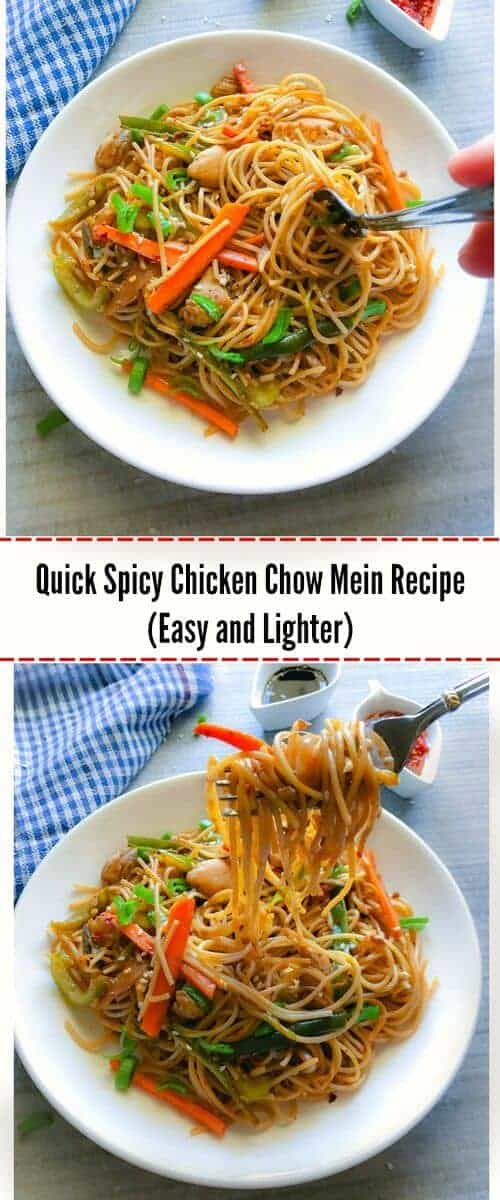 Quick and Easy Spicy Chicken Chow Mein Recipe (Lighter): #chinese #chowmein #chicken #recipe